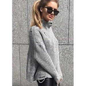 Zara Oversized Distressed Sweater High-Neck Ripped